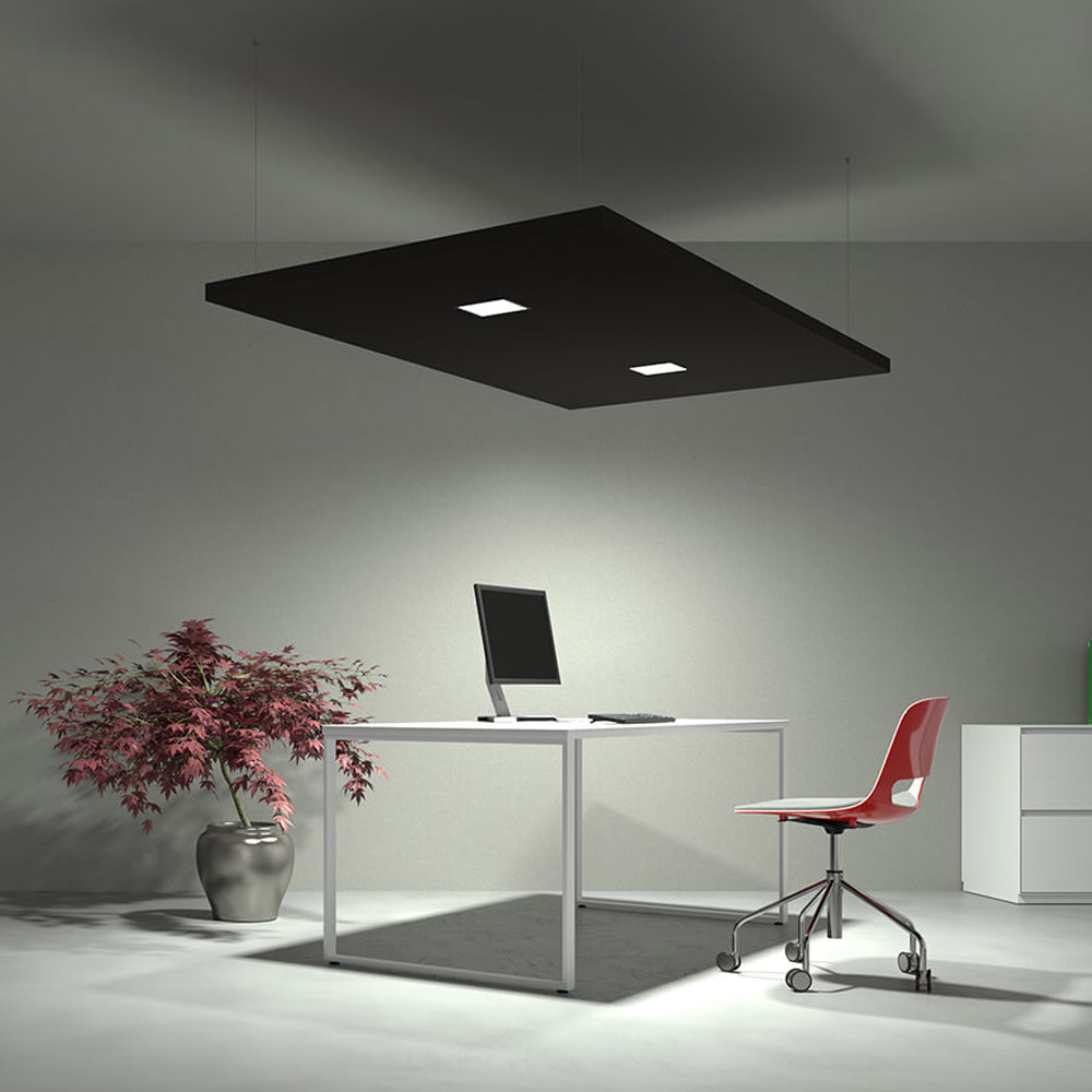 Acoustic Panel with Diffused Square Spotlight | Woodwood Group