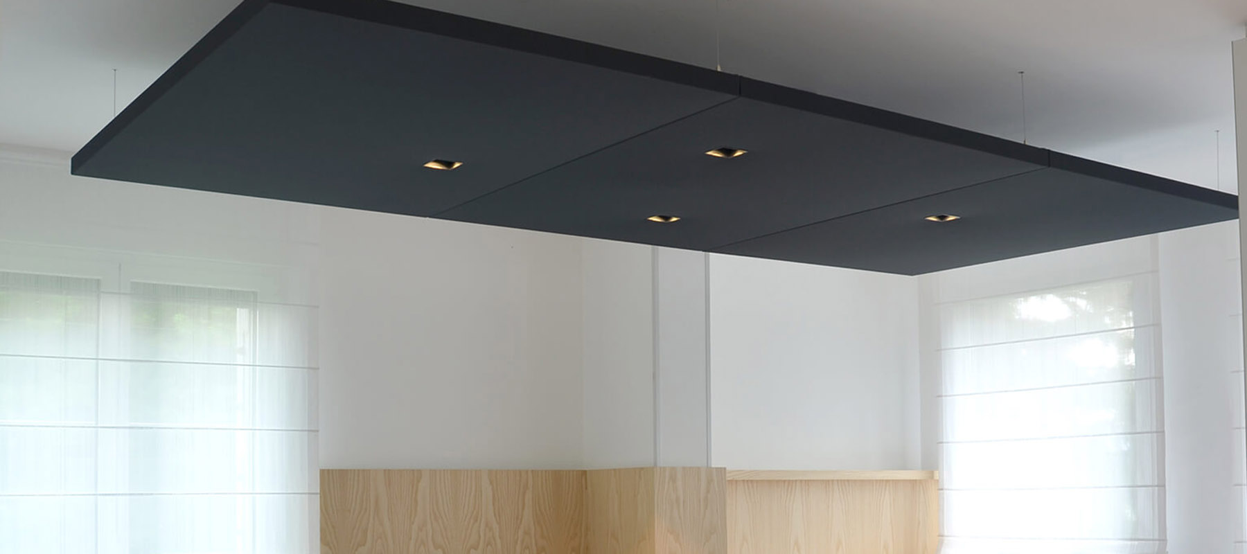 Acoustic Panels with Square LED Spotlights | Woodwood Group