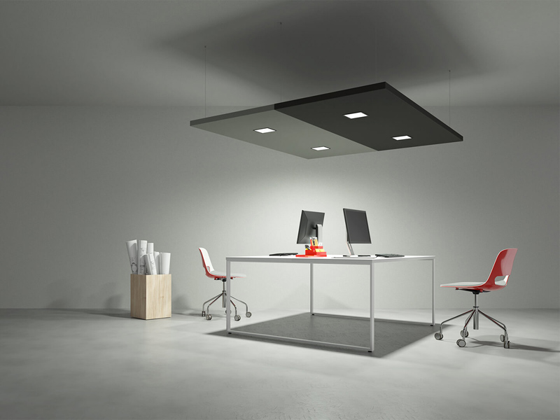 Acoustic Panels with Diffused Square Spotlights | Woodwood Group