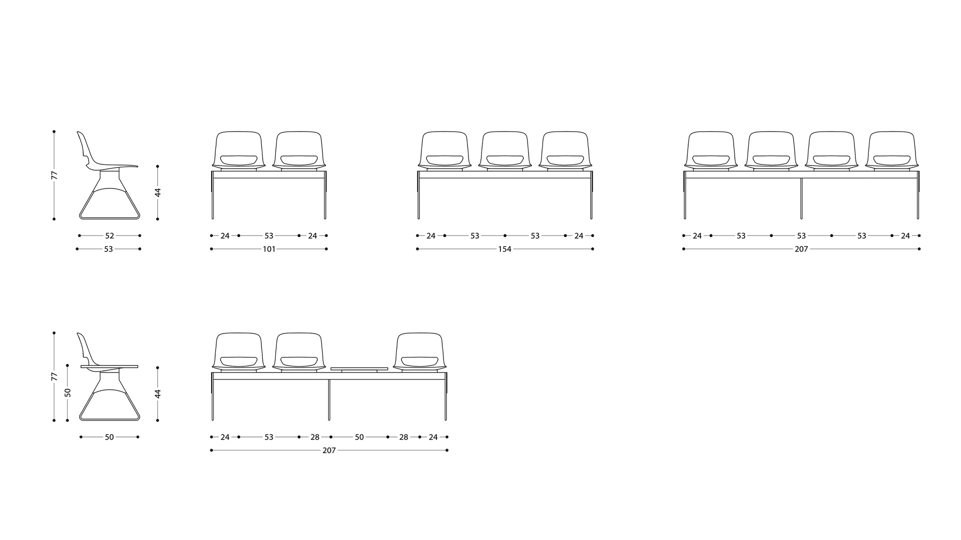 LAMM Lucky Beam Mounted Seating Dimensions | Woodwood Group